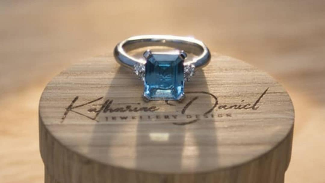 Topaz and Diamond Engagement Ring