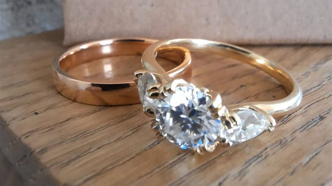 18ct yellow gold and moissanite engagement ring