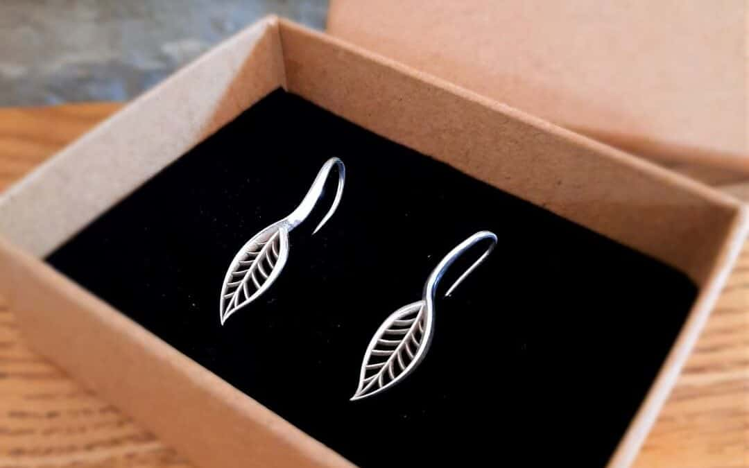 Sage leaf earrings in 9ct White gold!