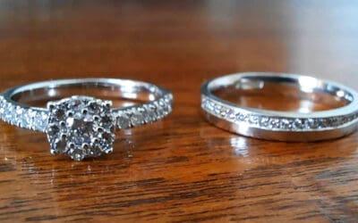Diamond set platinum wedding band